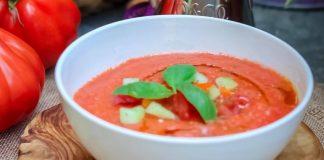 Receta de sopa de pepino y tomate